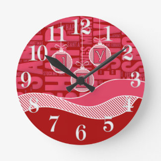 It's Time for Christmas Joy in Pink and Red Round Clock