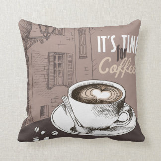It's Time for Coffee Throw Pillow