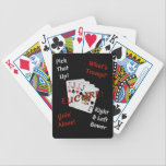 "It&#39;s Time For Euchre! Bicycle Playing Cards<br><div class=""desc"">Do you love Euchre? Are you having a Euchre Tournament? Then you need this deck of cards! Featuring the Bowers with the word Euchre,  and four Euchre phrases in white and red on a black background.</div>"