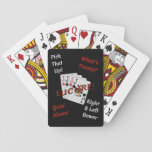 "It&#39;s Time For Euchre! Playing Cards<br><div class=""desc"">Do you love Euchre? Are you having a Euchre Tournament? Then you need this deck of cards! Featuring the Bowers with the word Euchre,  and four Euchre phrases in white and red on a black background.</div>"