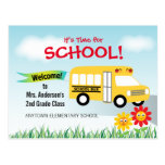 It's Time for School, Back to School Bus Postcard