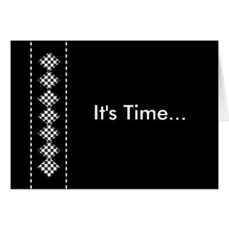 """It's Time"" Groomsman Invite with Diamond Checks Card"