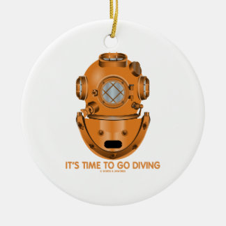 It's Time To Go Diving (Deep Sea Diving Helmet) Double-Sided Ceramic Round Christmas Ornament