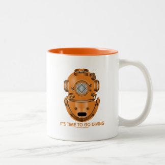 It's Time To Go Diving (Deep Sea Diving Helmet) Two-Tone Coffee Mug