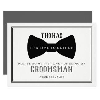 It's Time To Suit Up Groomsman - Black Tie Grey Invitation