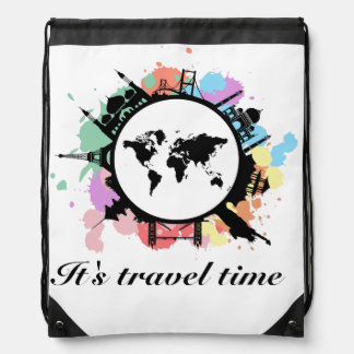 It's travel time drawstring backpack