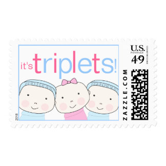 It's Triplets 2 Boys 1 Girl Pink Blue Postage