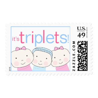 It's Triplets 2 Girls One 1 Boy Pink Blue Postage