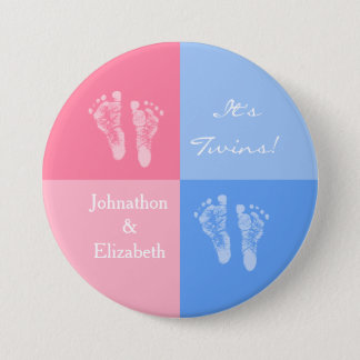 Its Twin Boy and Girl Cute Pink Baby Footprints Button