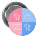 Its Twin Boy and Girl Cute Pink Baby Footprints 3 Inch Round Button