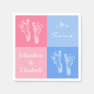 Its Twin Boy and Girl Cute Pink Baby Footprints Paper Napkin