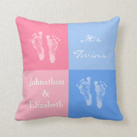 Its Twin Boy and Girl Cute Pink Baby Footprints Pillow