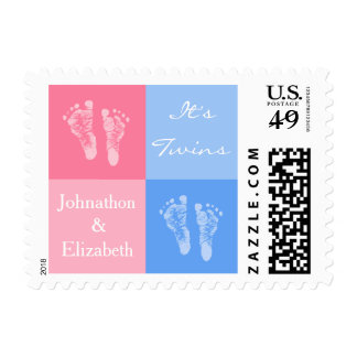 Its Twin Boy and Girl Cute Pink Baby Footprints Postage