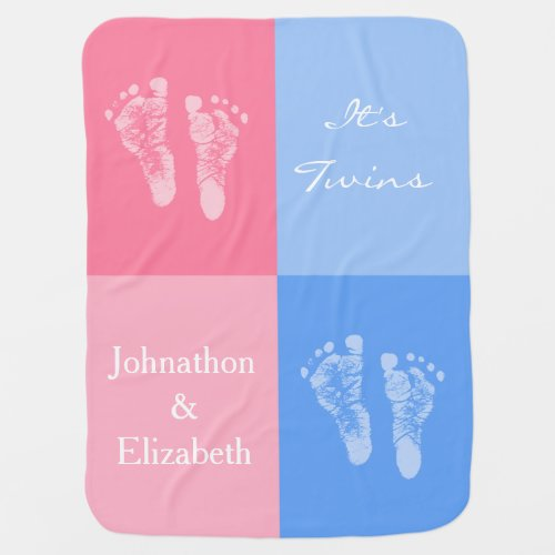 Its Twin Boy and Girl Cute Pink Baby Footprints Stroller Blanket