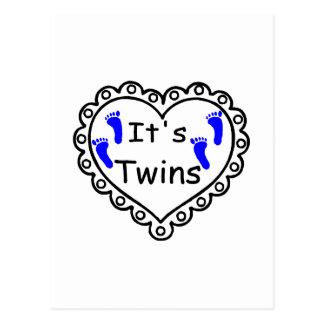 Its Twin Boys Hearts Postcard