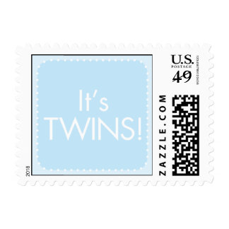 It's Twin Boys Postage Stamp