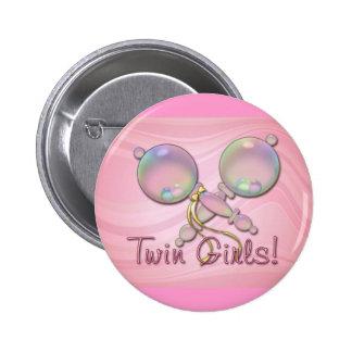 IT'S TWIN GIRLS BABY RATTLE by SHARON SHARPE 2 Inch Round Button