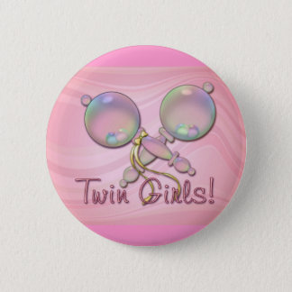 IT'S TWIN GIRLS BABY RATTLE by SHARON SHARPE Pinback Button