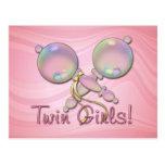 IT'S TWIN GIRLS BABY RATTLE by SHARON SHARPE Postcard