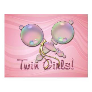 IT'S TWIN GIRLS BABY RATTLE by SHARON SHARPE Postcard