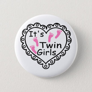 Its Twin Girls Pink Footprints Hearts Button