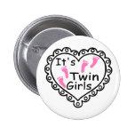 Its Twin Girls Pink Footprints Hearts Pinback Button