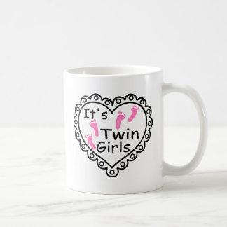Its Twin Girls Pink Footprints Hearts Coffee Mug