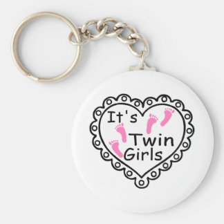 Its Twin Girls Pink Footprints Hearts Keychain