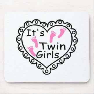 Its Twin Girls Pink Footprints Hearts Mousepads