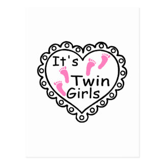 Its Twin Girls Pink Footprints Hearts Postcard