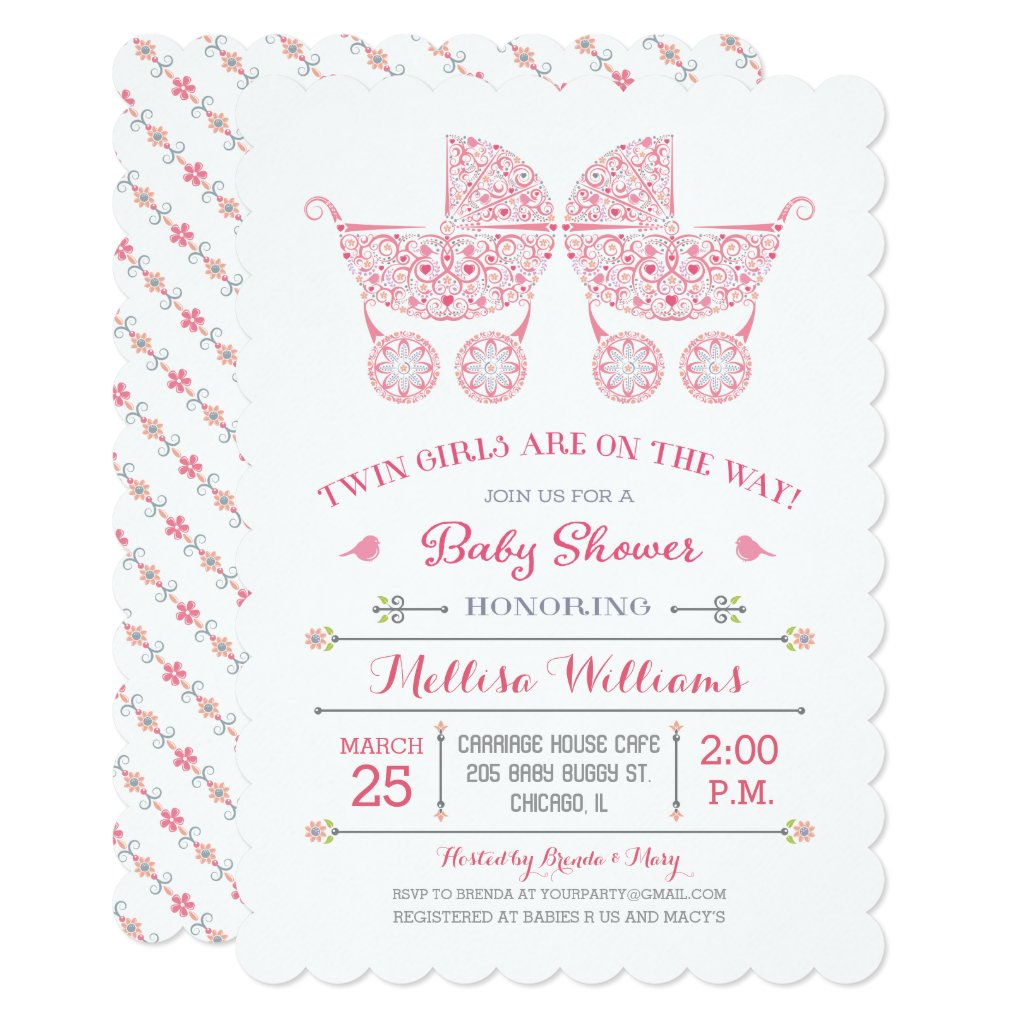 It's Twin Girls! Twins Baby Shower Invitation