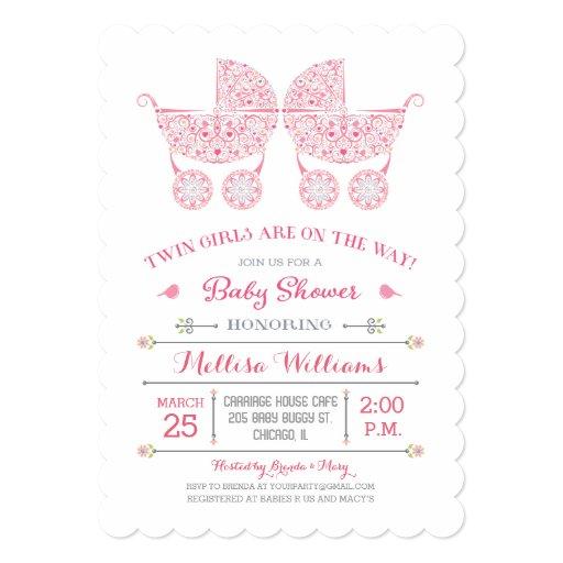 it 39 s twin girls twins baby shower invitation zazzle