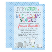 It's Twins! Baby Blue Polka Dot Baby Shower Card