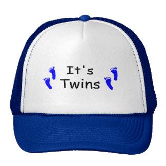 Its Twins Baby Boy Blue Footprints Trucker Hat