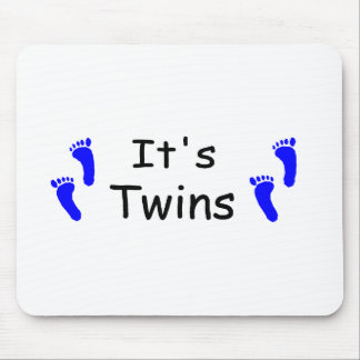 Its Twins Baby Boy Blue Footprints Mouse Pads