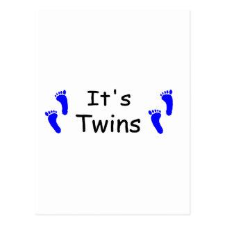 Its Twins Baby Boy Blue Footprints Postcard