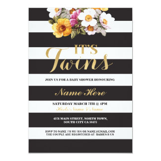 It's Twins Baby Shower Stripe Gold Floral Invite
