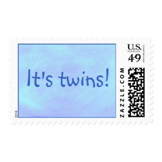 It's twins! blended blue for boys postage stamps