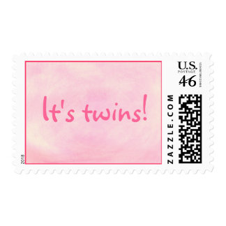 It's twins! Blended pink for girls, postage stamps