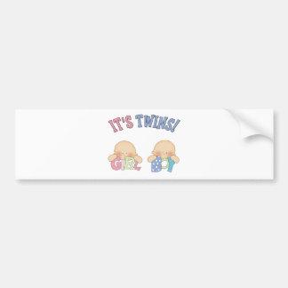 ITS TWINS (Boy Girl) Car Bumper Sticker