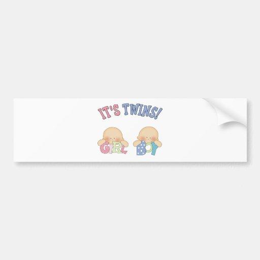 ITS TWINS (Boy Girl) Bumper Stickers