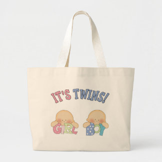 ITS TWINS (Boy Girl) Large Tote Bag