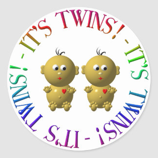It's twins! classic round sticker
