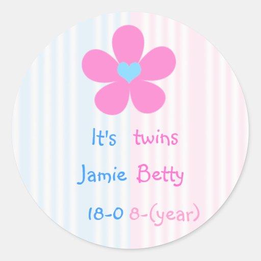 It's twins - flower classic round sticker