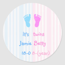 It's twins - footprints classic round sticker