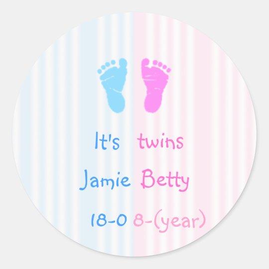 It's twins - footprints classic round sticker