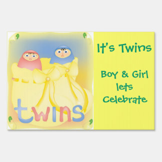 It's Twins Garden Poster Sign