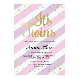 It's Twins Girls Baby Shower Gold & Pink Invite
