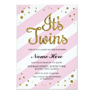Twins baby shower invitations announcements zazzle its twins girls baby shower pink gold invite filmwisefo