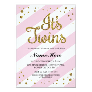 It's Twins Girls Baby Shower Pink Gold Invite at Zazzle